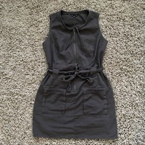 Gap cotton mechanic zipper tie dress minimal punk